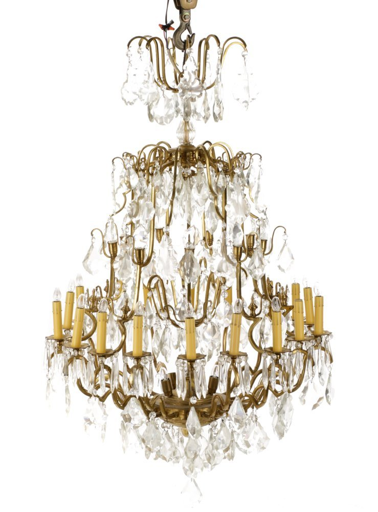 Large Gilt Metal Neoclassical Style Chandelier