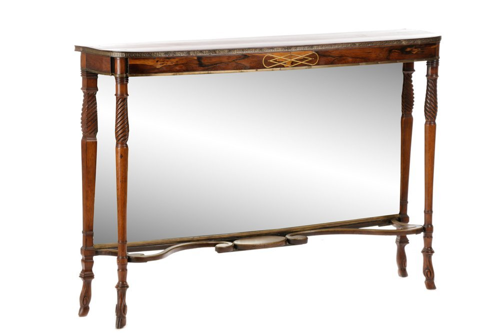 Neoclassical Style Rosewood & Brass Pier Table