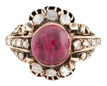 English Georgian Rose Gold Ruby  Diamond RIng