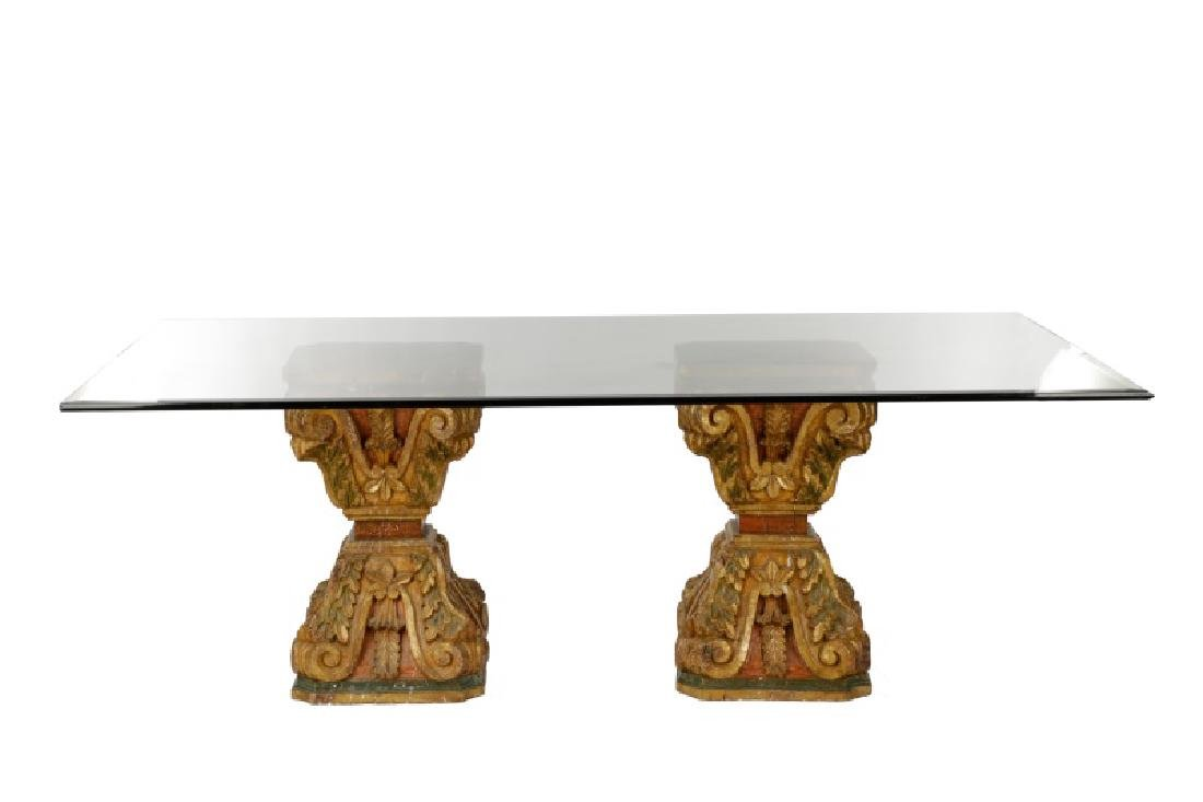 Venetian Baroque Style Glass Top Dining Table