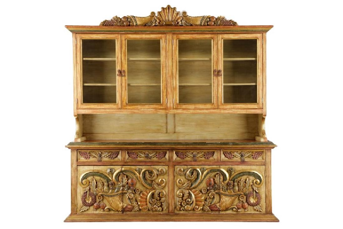 Venetian Baroque Style Polychromed Hutch