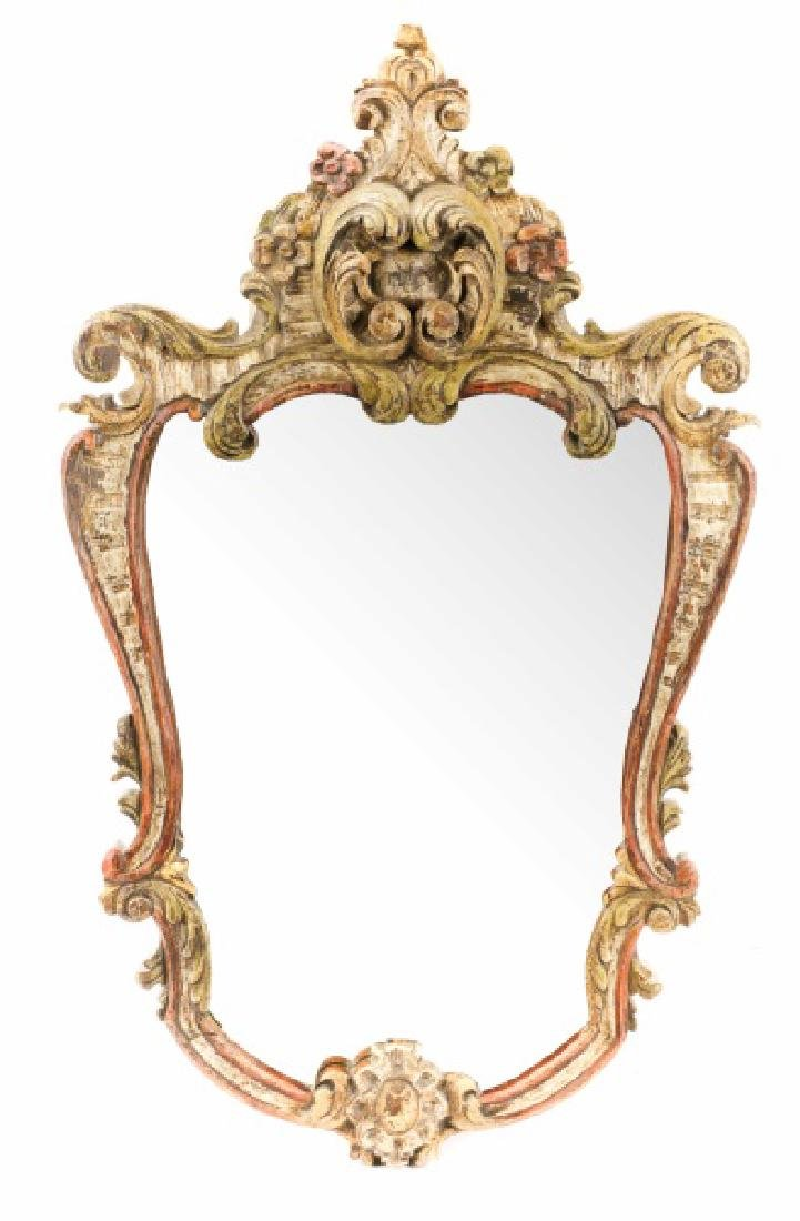 Venetian Style Polychrome Shield Form Wall Mirror