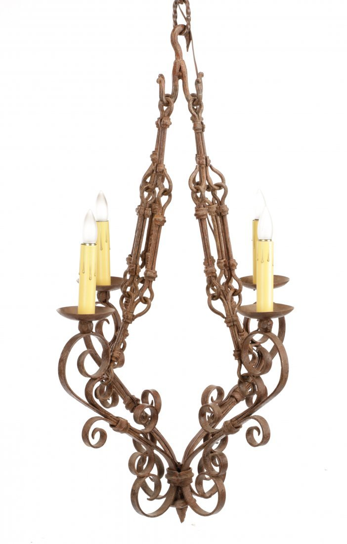 French Provincial Wrought Iron 4-Light Chandelier