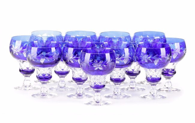 Set of 14 Cobalt Cut to Clear Crystal Goblets