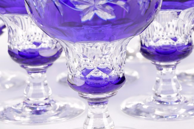 Set of 14 Cobalt Cut to Clear Crystal Goblets - 3