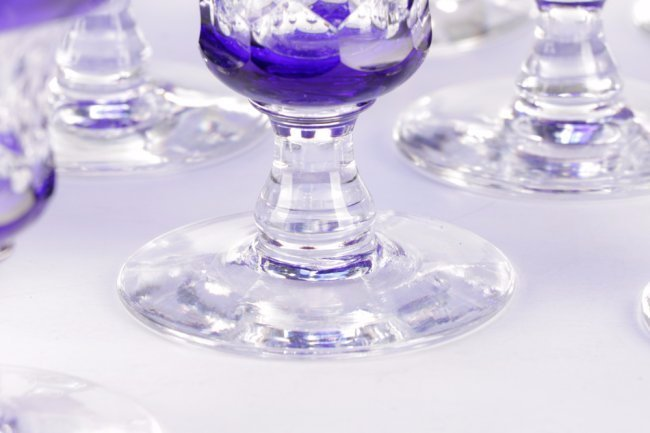 Set of 14 Cobalt Cut to Clear Crystal Goblets - 4