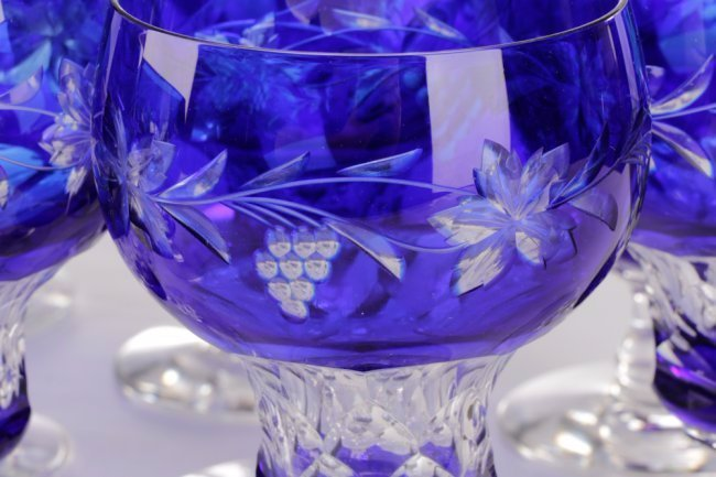 Set of 14 Cobalt Cut to Clear Crystal Goblets - 7