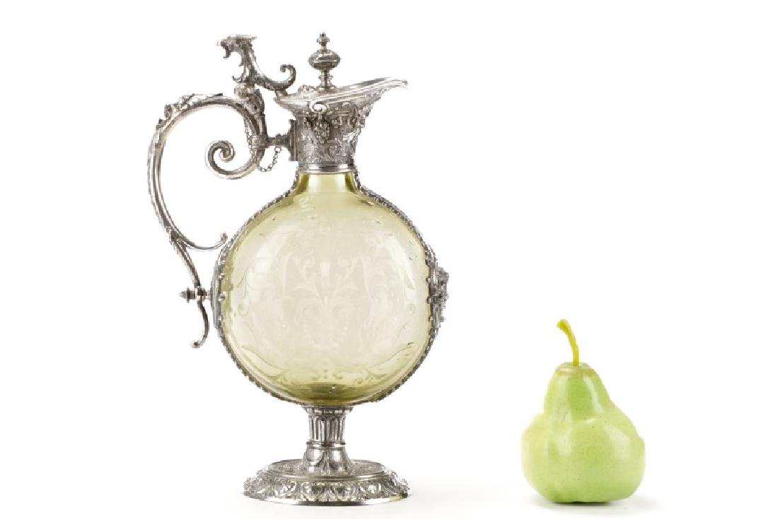 Renaissance Style Silverplate & Glass Cellini Jug - 10