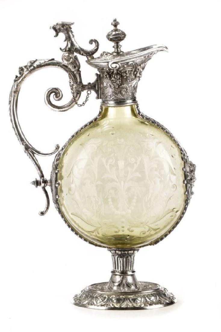 Renaissance Style Silverplate & Glass Cellini Jug