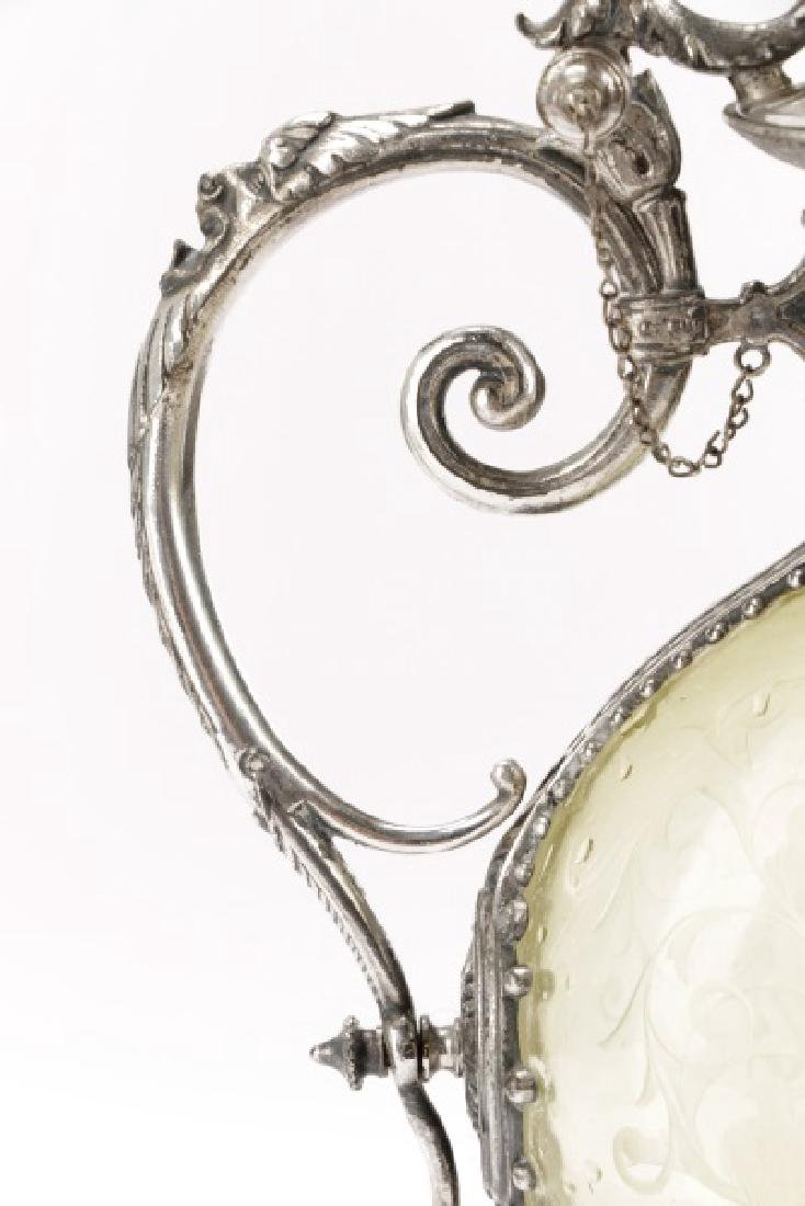 Renaissance Style Silverplate & Glass Cellini Jug - 3