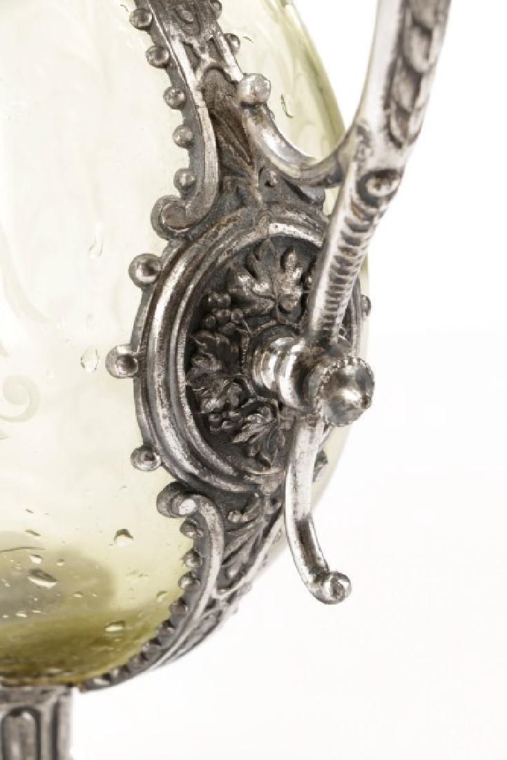 Renaissance Style Silverplate & Glass Cellini Jug - 5