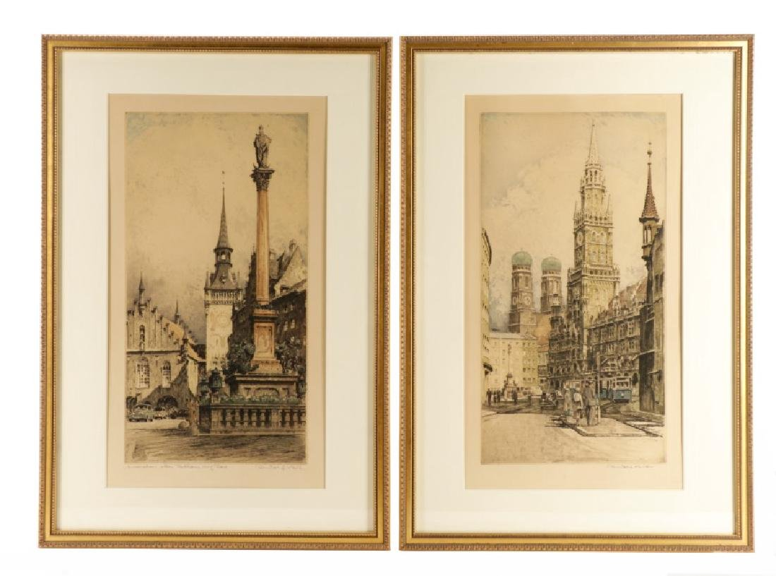 Collection of 2 Rudolf Veit Etchings with Aquatint