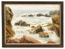 """Henry Rood Jr., """"Bass Rocks (Low Tide)""""-1979, Oil"""