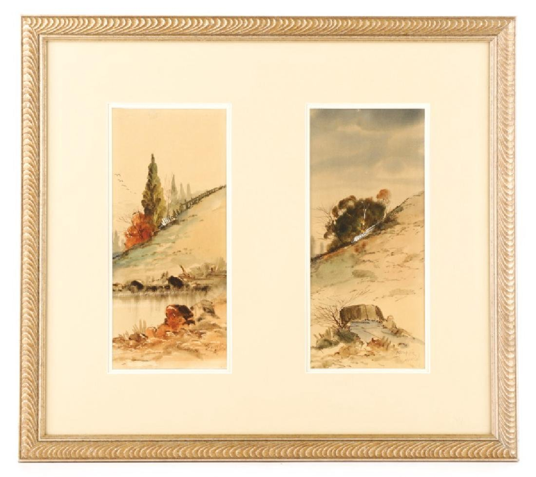"C.P. Gruppe, ""Hillside Diptych"", Watercolor Signed"