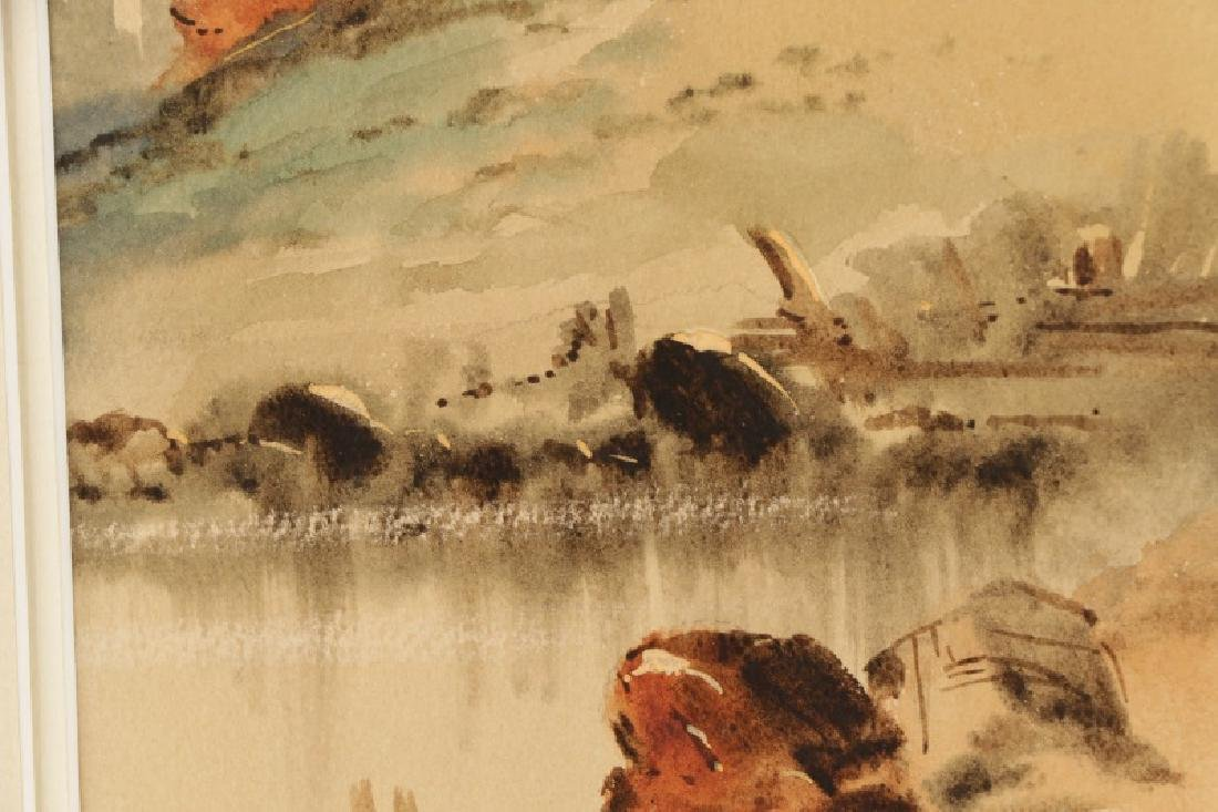 "C.P. Gruppe, ""Hillside Diptych"", Watercolor Signed - 3"