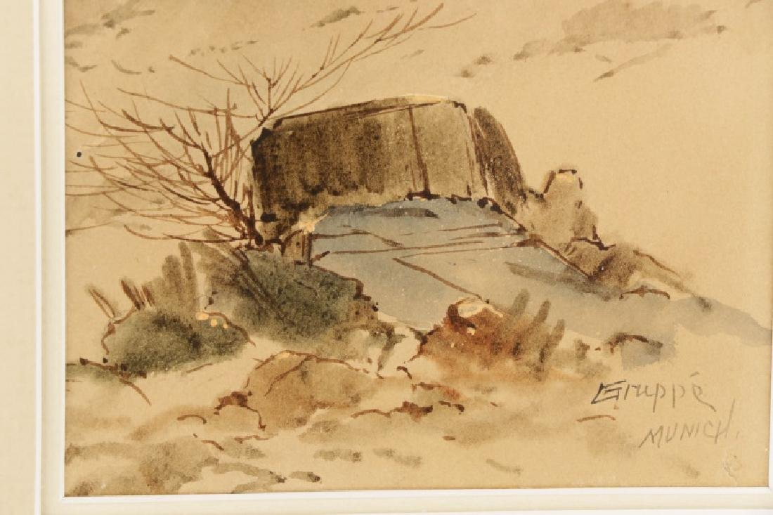 "C.P. Gruppe, ""Hillside Diptych"", Watercolor Signed - 5"