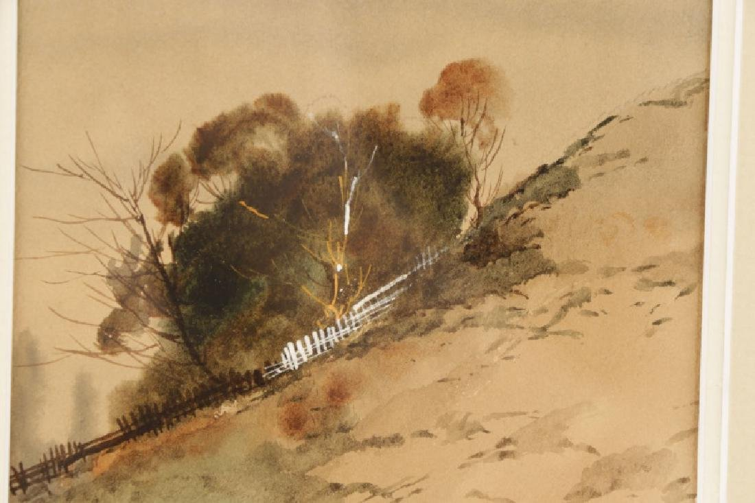 "C.P. Gruppe, ""Hillside Diptych"", Watercolor Signed - 6"
