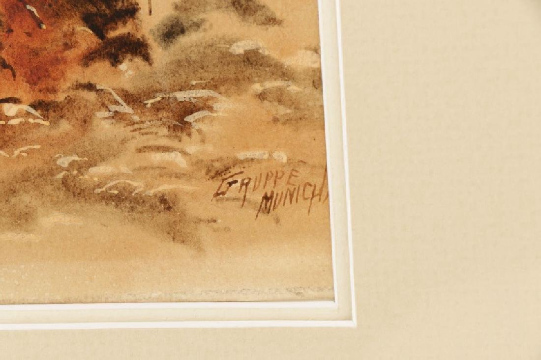 "C.P. Gruppe, ""Hillside Diptych"", Watercolor Signed - 8"