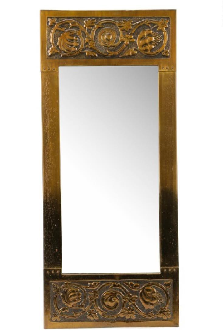 French Art Nouveau Pier Mirror, Scrolled Oak Motif