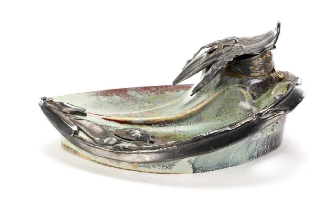 Art Nouveau Flambe Glazed Inkwell, Alexandre Bigot