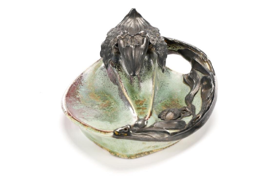 Art Nouveau Flambe Glazed Inkwell, Alexandre Bigot - 2