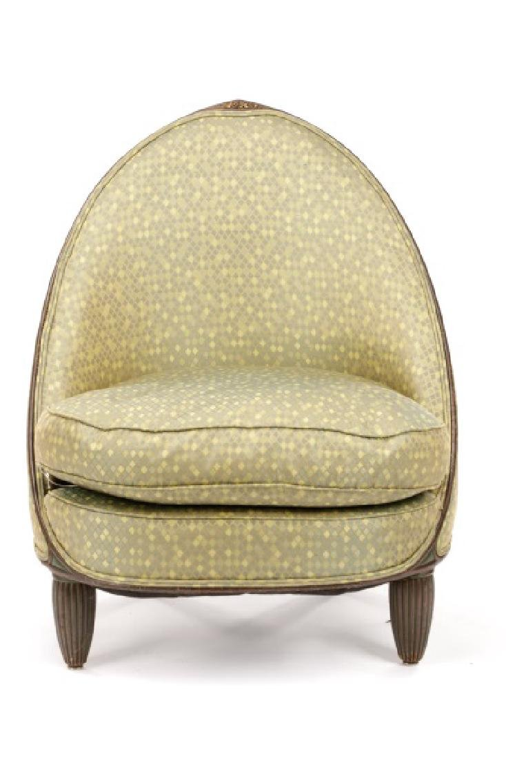 Art Deco Style Curved Back Lounge Chair