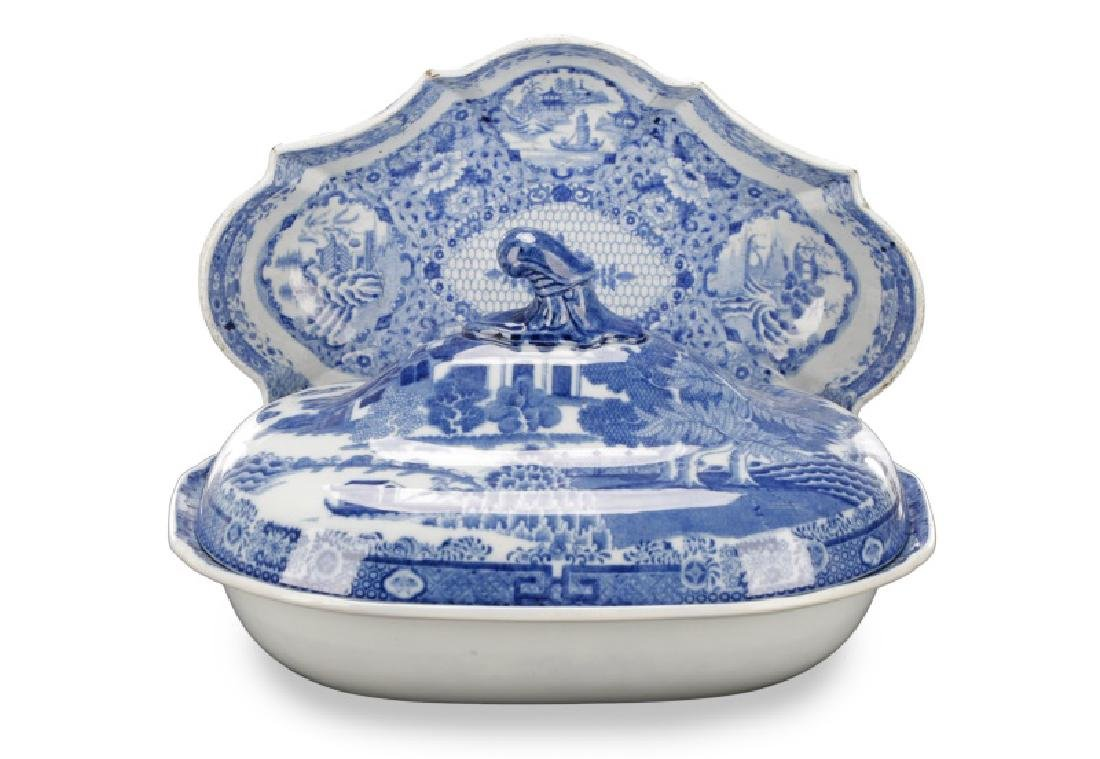 Spode Pearlware Hash Dish and Serving Dish