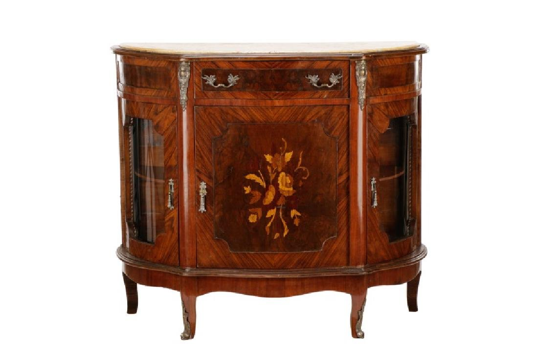 Marble Top Marquetry Inlaid Demilune Cabinet