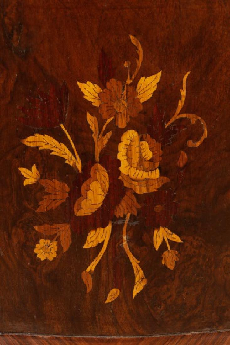 Marble Top Marquetry Inlaid Demilune Cabinet - 2