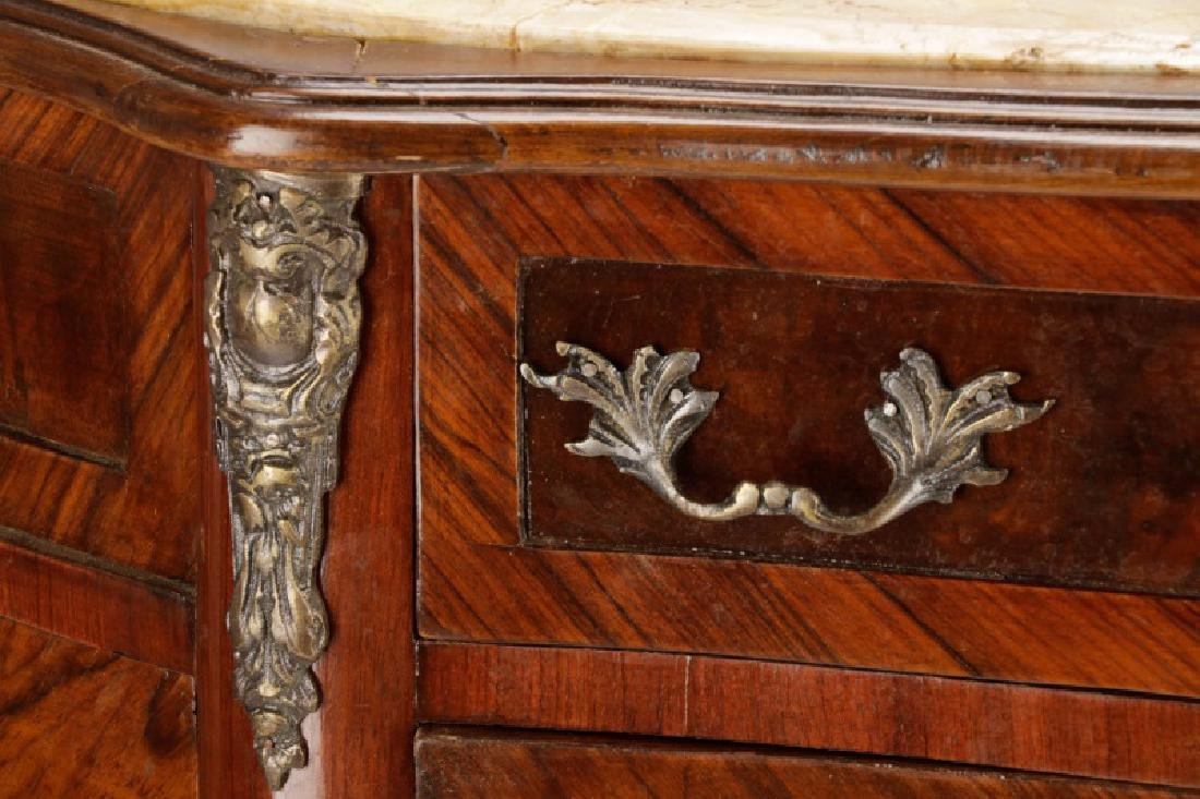 Marble Top Marquetry Inlaid Demilune Cabinet - 3