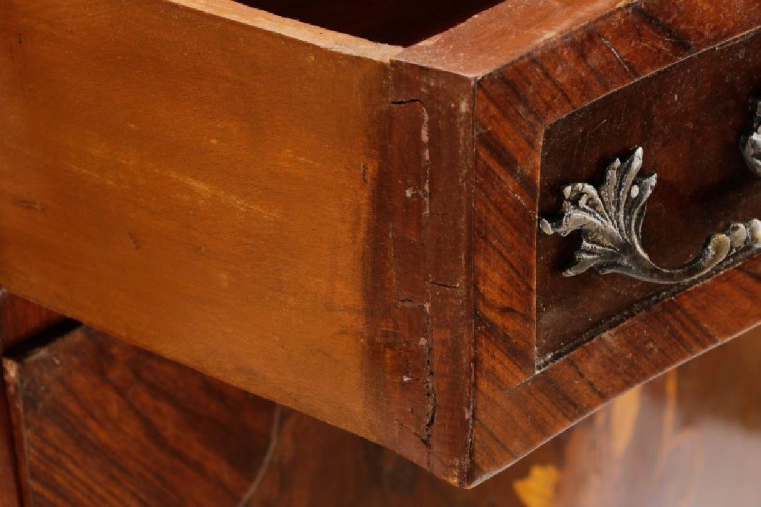 Marble Top Marquetry Inlaid Demilune Cabinet - 6
