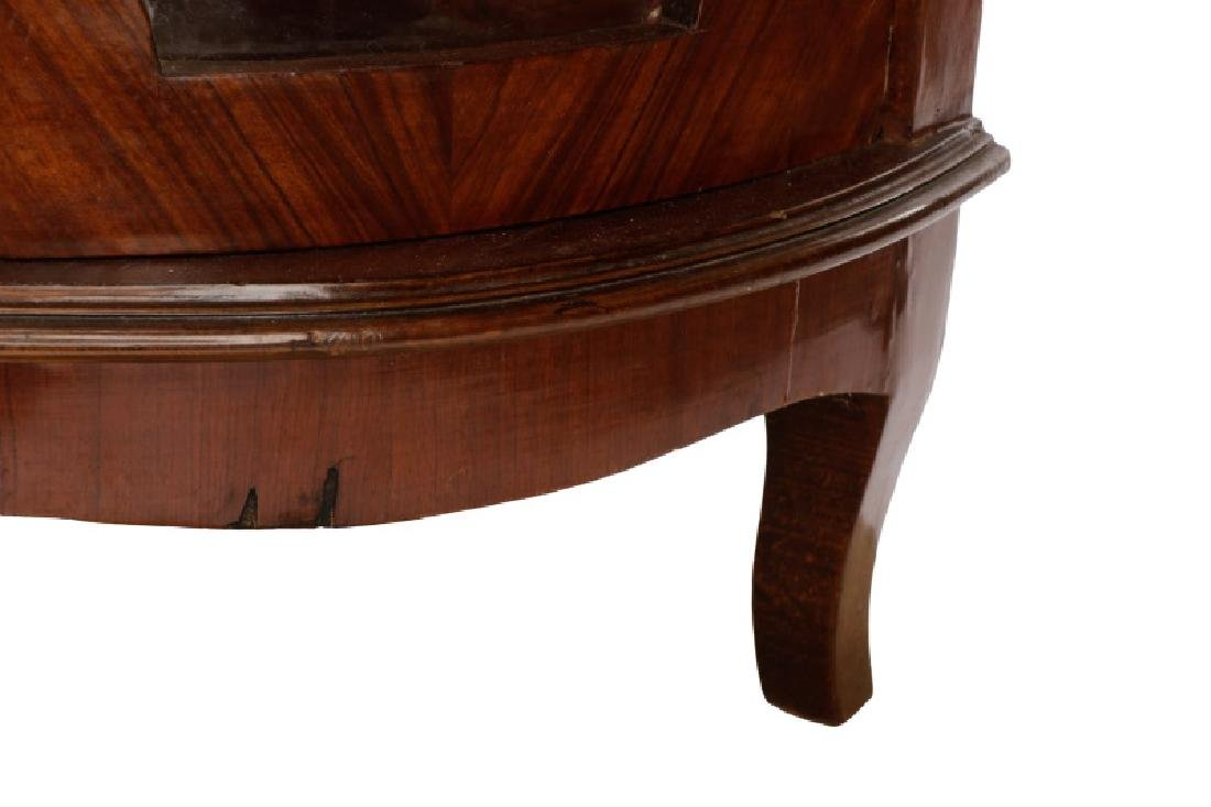 Marble Top Marquetry Inlaid Demilune Cabinet - 9