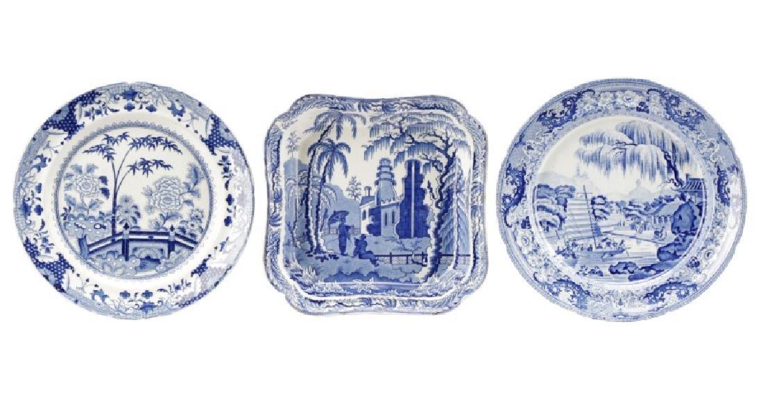 3 Pcs Blue & White Earthenware Davenport & Rogers