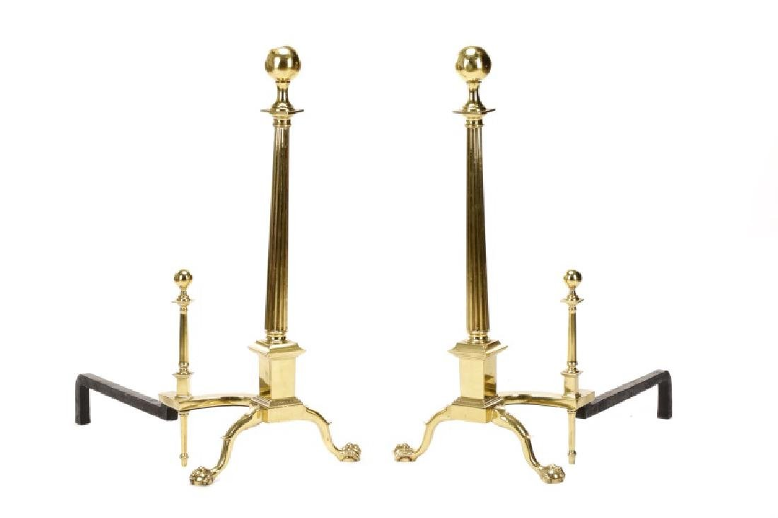 Neoclassical Style Gilt Metal Claw Foot  Andirons