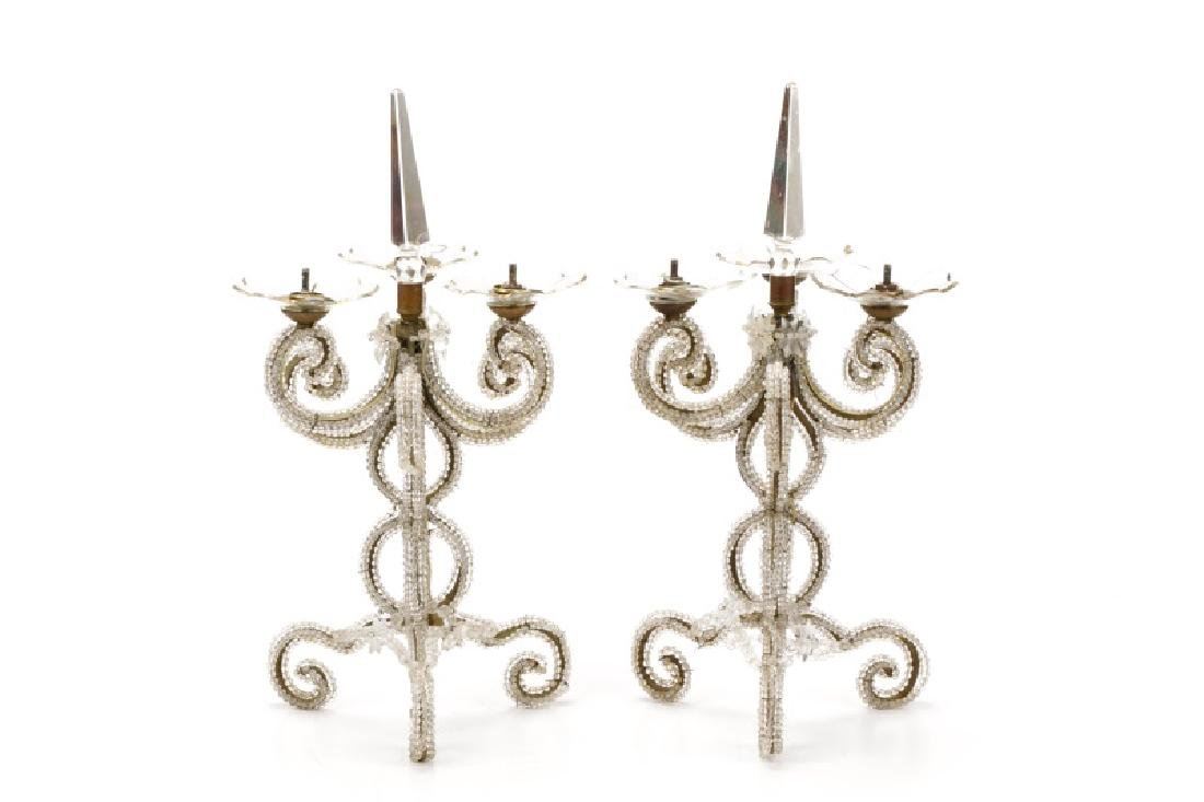 Pair, Scrolled & Beaded Neoclassical Candelabras