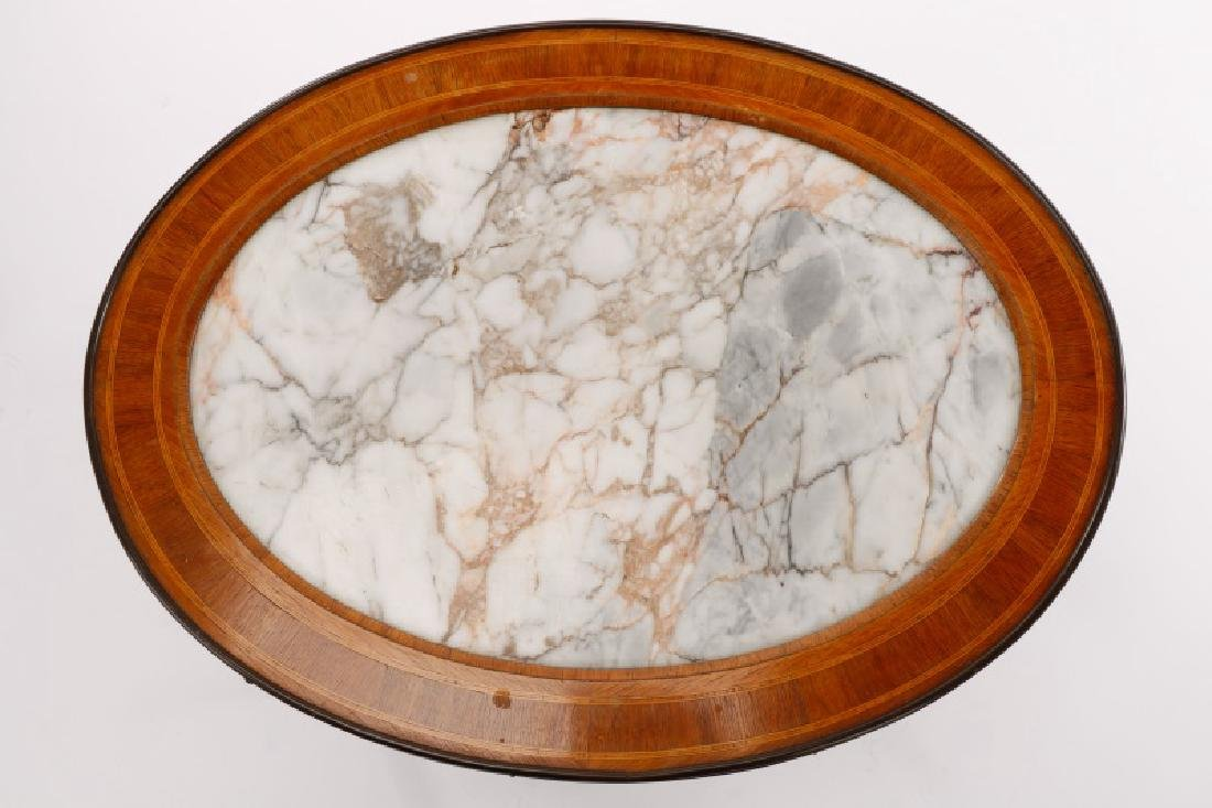 Italian Neoclassical White Marble Inset Table - 2