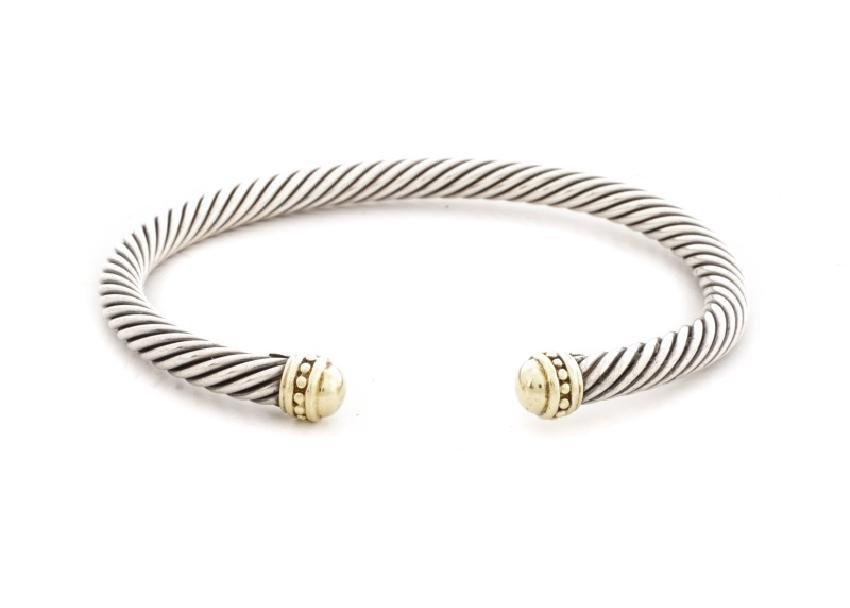 David Yurman Sterling & 14k Cable Cuff Bracelet