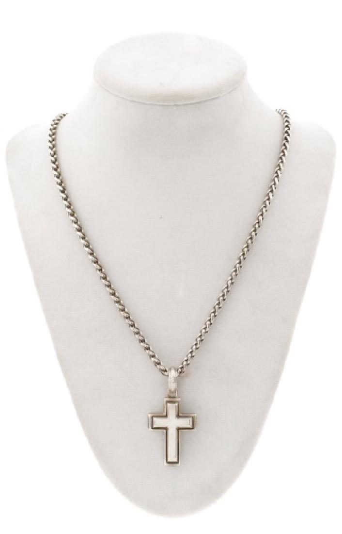 David Yurman Sterling Wheat Chain w/ Cross Pendant