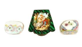 3 Continental Silver & Enamel Decorated Boxes