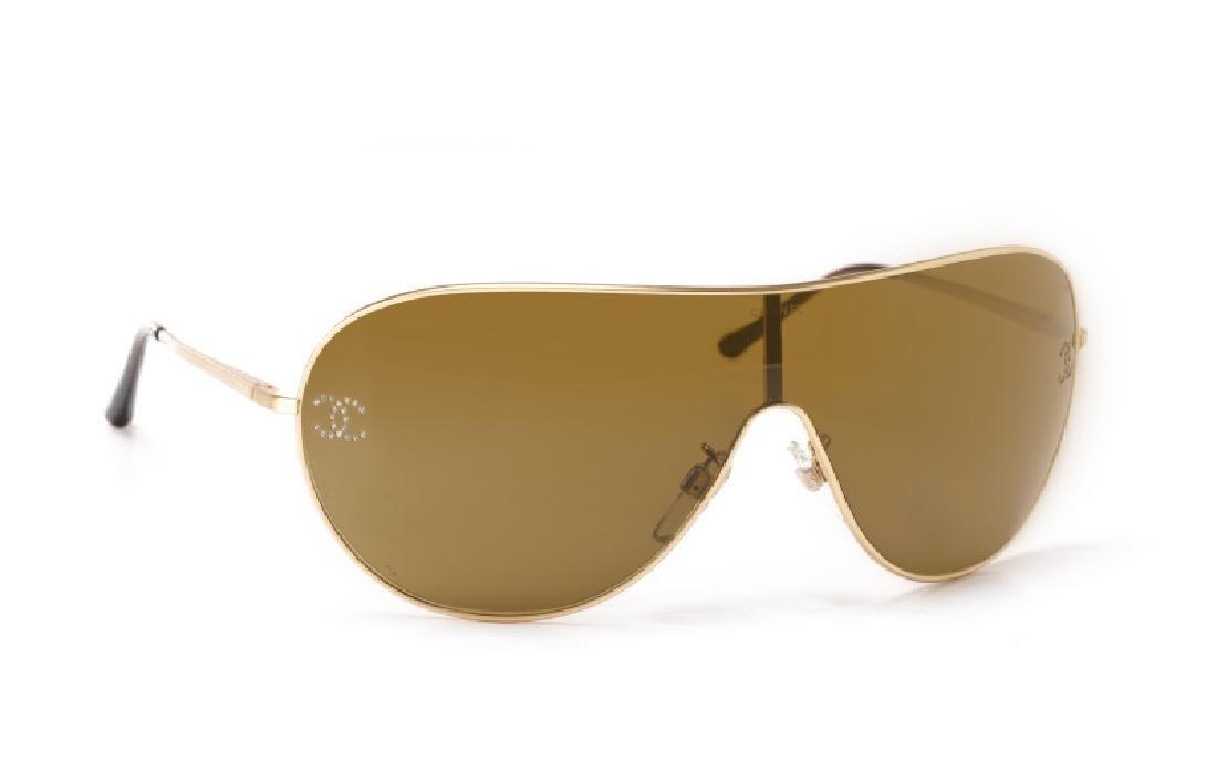 Chanel Embellished Shield Sunglasses & Case