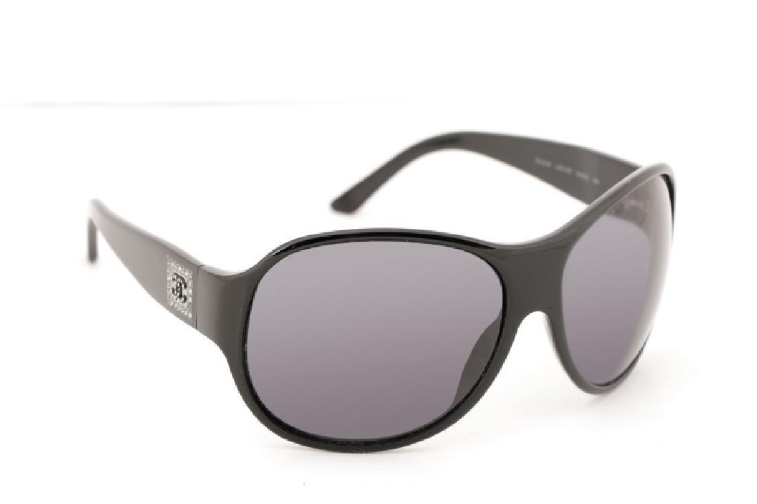 Chanel Embellished Black Sunglasses & Case