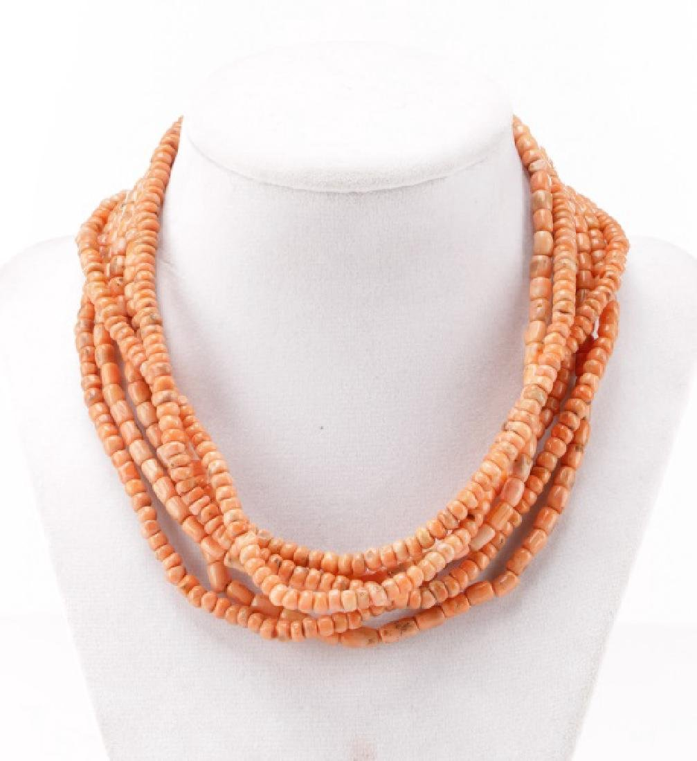 Long Beaded Pink Coral Necklace