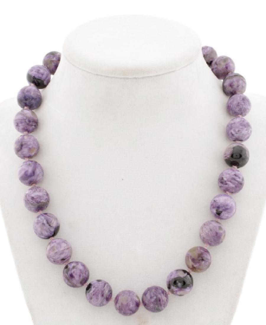 Ladies Purple Charoite Beaded Necklace