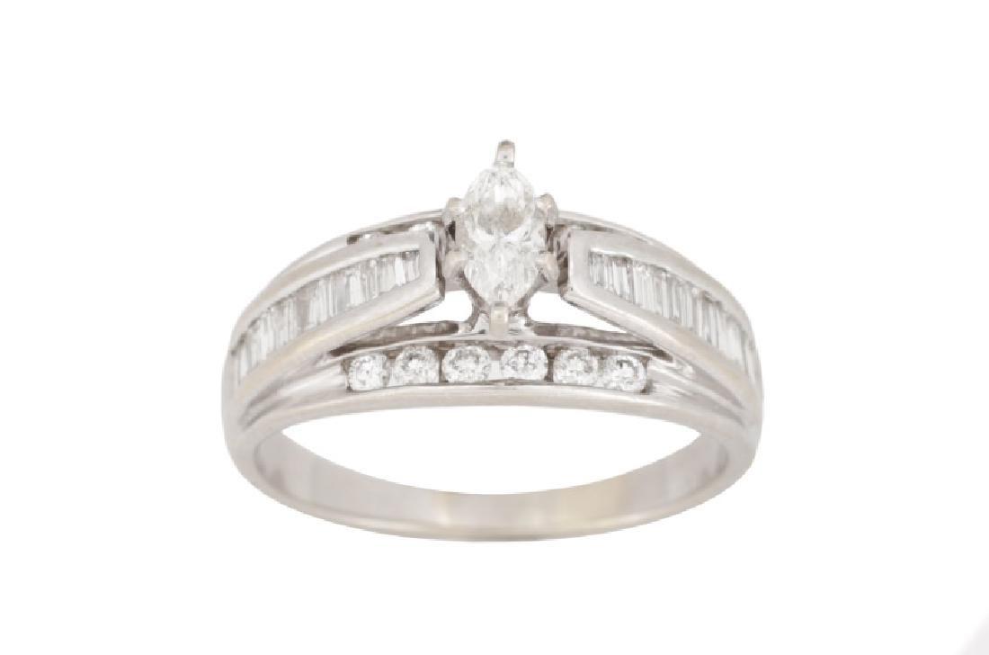 14k White Gold Marquis Cut Fancy Diamond Ring