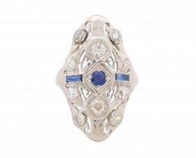 18k White Gold Art Deco Style Diamond Dome Ring