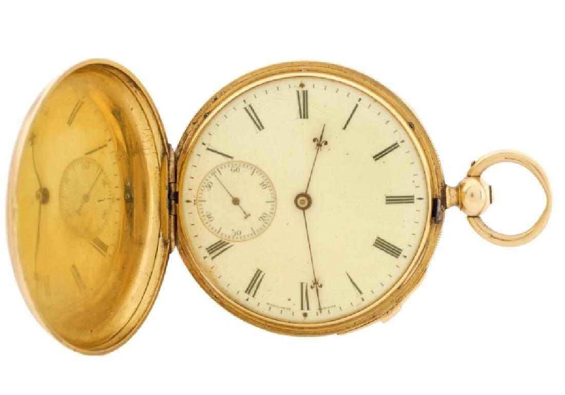 Moulinie Geneve Demi-Chronometre Gold Pocket Watch