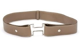 Hermes Taupe Pebbled Leather Belt w/ Logo Buckle