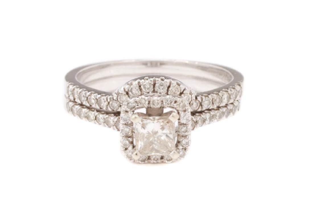 14K White Gold & Diamond Wedding Ring Set