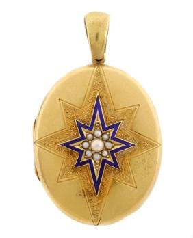 Victorian 18k Yellow Gold Mourning Locket