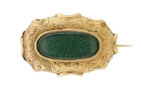 Victorian 18k Yellow Gold Locket Brooch